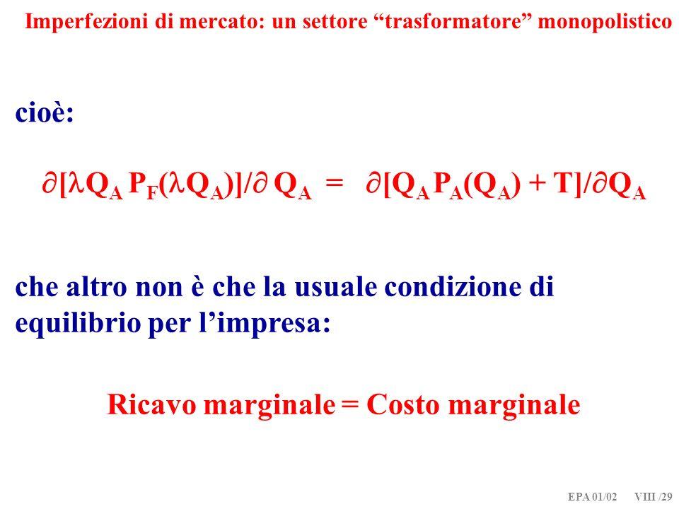 EPA 01/02 VIII /29 Imperfezioni di mercato: un settore trasformatore monopolistico cioè: [ Q A P F ( Q A )]/ Q A = [Q A P A (Q A ) + T]/ Q A che altro non è che la usuale condizione di equilibrio per limpresa: Ricavo marginale = Costo marginale