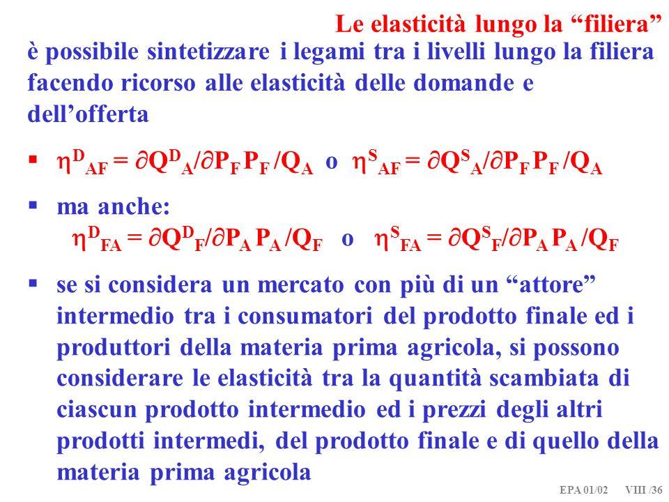 EPA 01/02 VIII /36 Le elasticità lungo la filiera è possibile sintetizzare i legami tra i livelli lungo la filiera facendo ricorso alle elasticità delle domande e dellofferta D AF = Q D A / P F P F /Q A o S AF = Q S A / P F P F /Q A ma anche: D FA = Q D F / P A P A /Q F o S FA = Q S F / P A P A /Q F se si considera un mercato con più di un attore intermedio tra i consumatori del prodotto finale ed i produttori della materia prima agricola, si possono considerare le elasticità tra la quantità scambiata di ciascun prodotto intermedio ed i prezzi degli altri prodotti intermedi, del prodotto finale e di quello della materia prima agricola