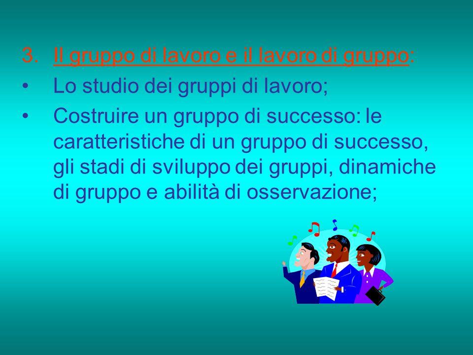 3.Il gruppo di lavoro e il lavoro di gruppo: Lo studio dei gruppi di lavoro; Costruire un gruppo di successo: le caratteristiche di un gruppo di succe
