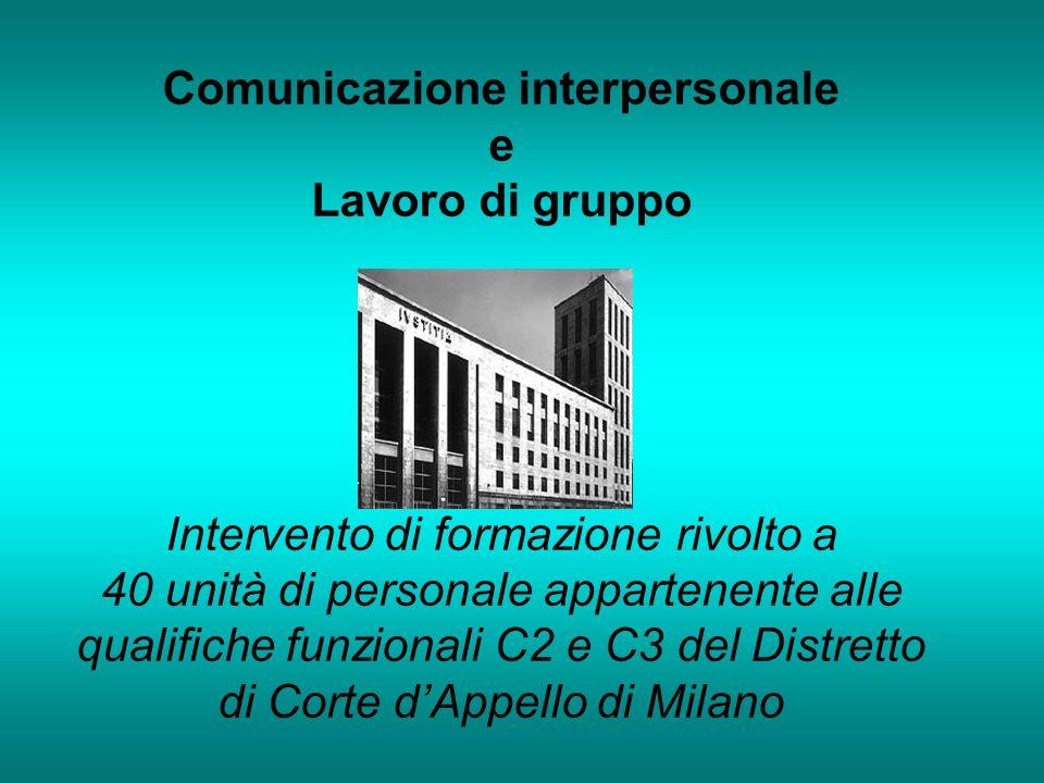 Comunicazione interpersonale e Lavoro di gruppo Intervento di formazione rivolto a 40 unità di personale appartenente alle qualifiche funzionali C2 e