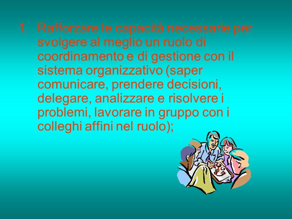1.Rafforzare le capacità necessarie per svolgere al meglio un ruolo di coordinamento e di gestione con il sistema organizzativo (saper comunicare, pre
