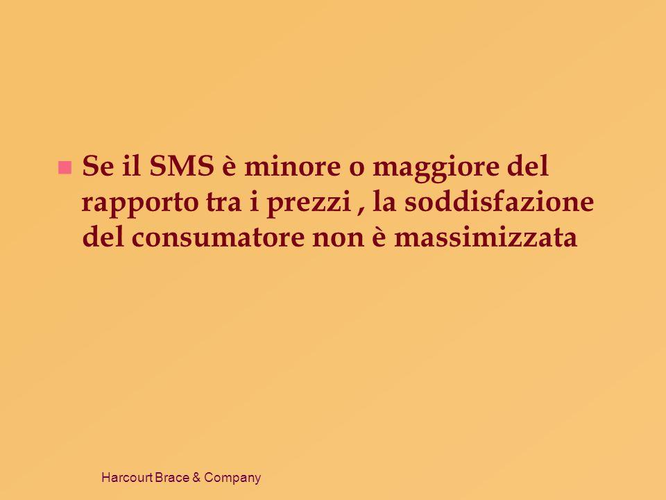 Harcourt Brace & Company n Se il SMS è minore o maggiore del rapporto tra i prezzi, la soddisfazione del consumatore non è massimizzata