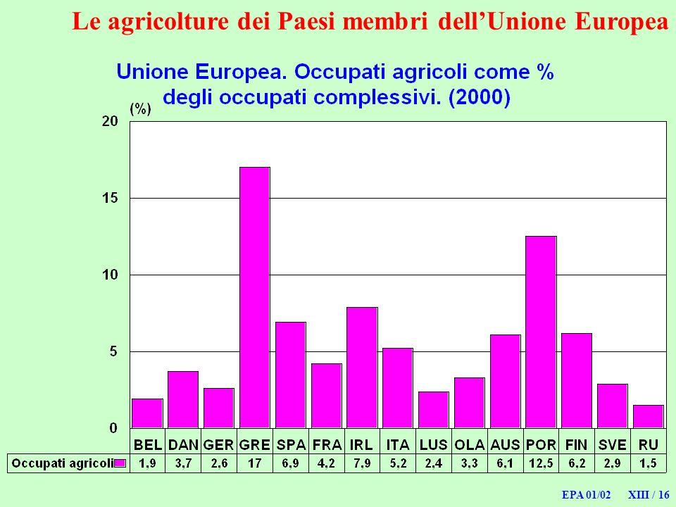 EPA 01/02 XIII / 16 Le agricolture dei Paesi membri dellUnione Europea