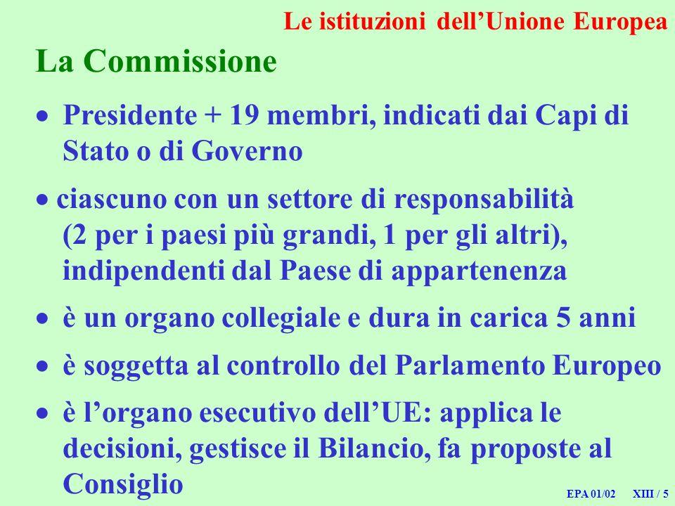 EPA 01/02 XIII / 5 La Commissione Presidente + 19 membri, indicati dai Capi di Stato o di Governo ciascuno con un settore di responsabilità (2 per i p