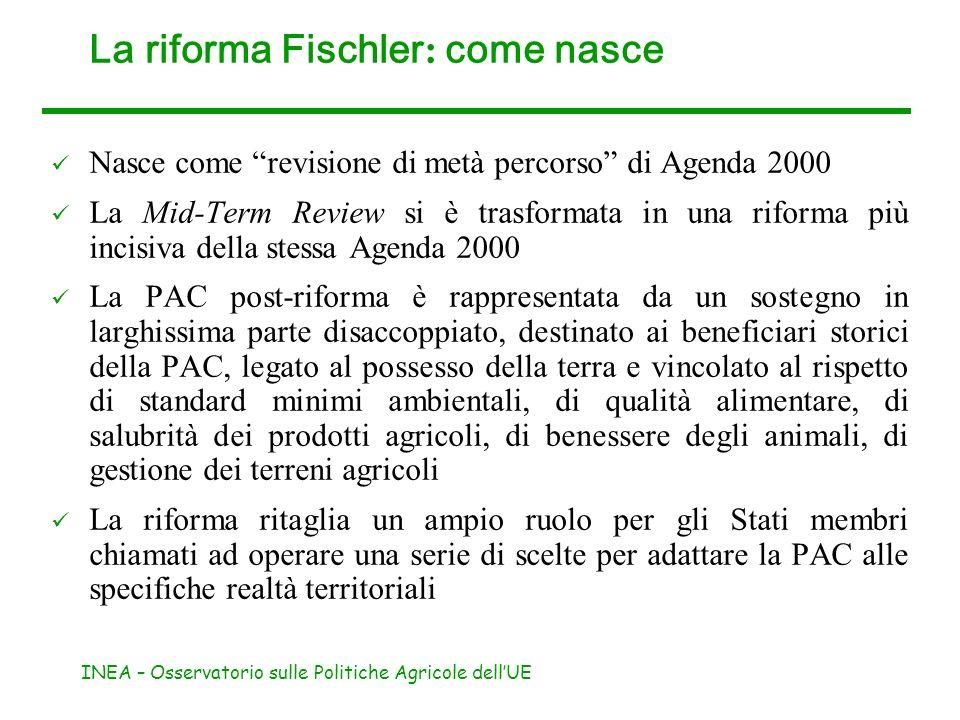 INEA – Osservatorio sulle Politiche Agricole dellUE La riforma Fischler : come nasce Nasce come revisione di metà percorso di Agenda 2000 La Mid-Term