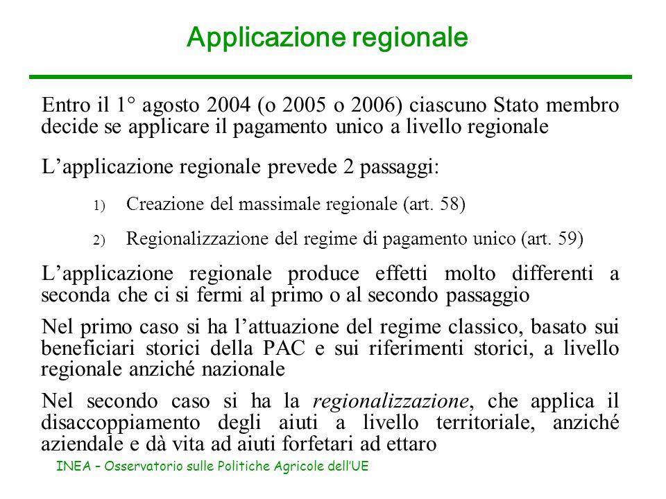 INEA – Osservatorio sulle Politiche Agricole dellUE Applicazione regionale Entro il 1° agosto 2004 (o 2005 o 2006) ciascuno Stato membro decide se app