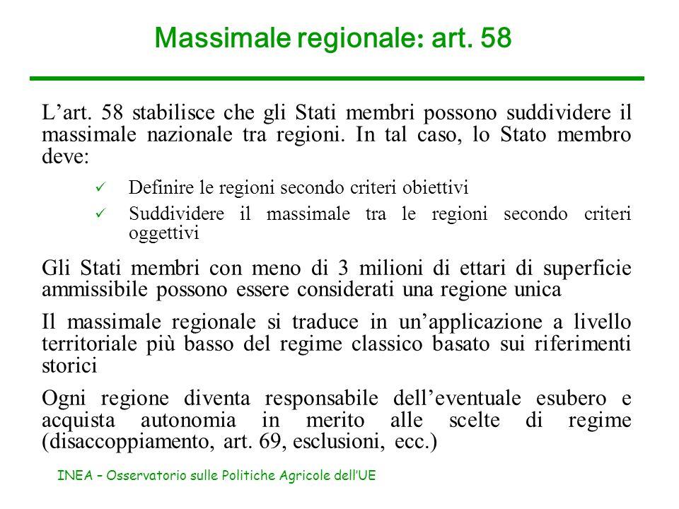 INEA – Osservatorio sulle Politiche Agricole dellUE Massimale regionale : art. 58 Lart. 58 stabilisce che gli Stati membri possono suddividere il mass