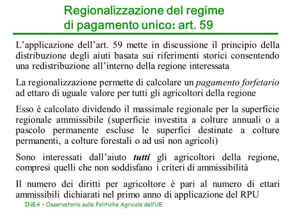 INEA – Osservatorio sulle Politiche Agricole dellUE Regionalizzazione del regime di pagamento unico : art. 59 Lapplicazione dellart. 59 mette in discu