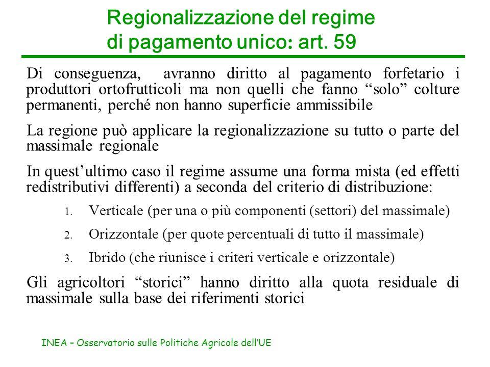 INEA – Osservatorio sulle Politiche Agricole dellUE Regionalizzazione del regime di pagamento unico : art. 59 Di conseguenza, avranno diritto al pagam