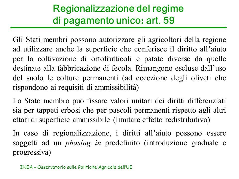 INEA – Osservatorio sulle Politiche Agricole dellUE Gli Stati membri possono autorizzare gli agricoltori della regione ad utilizzare anche la superfic
