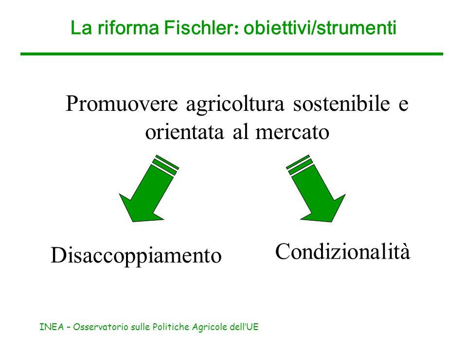 INEA – Osservatorio sulle Politiche Agricole dellUE La riforma Fischler : obiettivi/strumenti Rafforzare lo sviluppo rurale (II pilastro della PAC) Modulazione Ampliamento set strumenti (misure di accompagnamento)