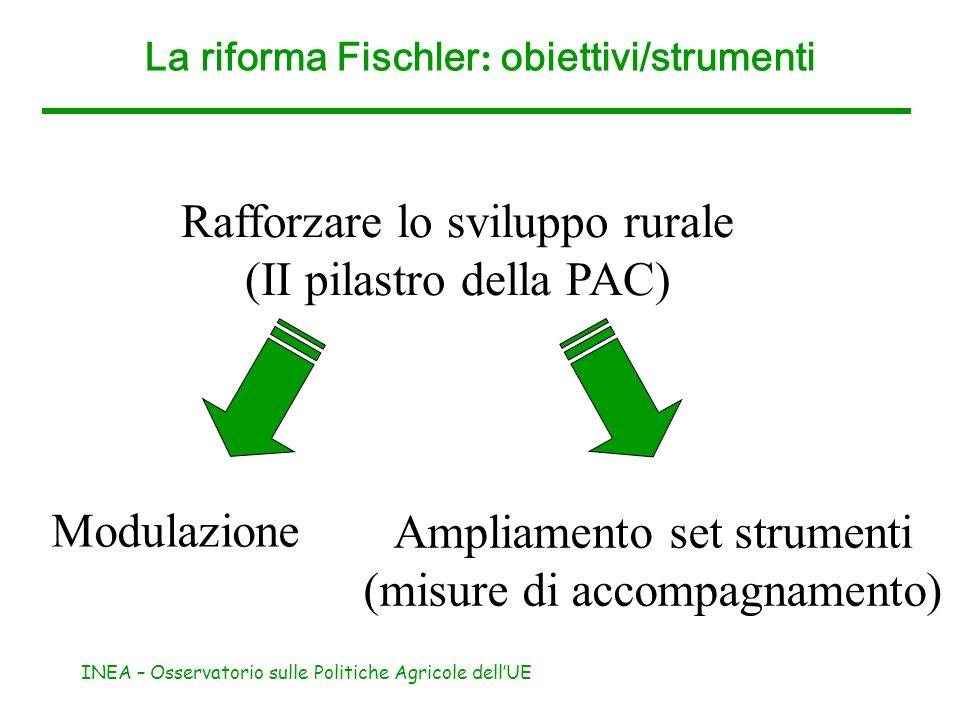 INEA – Osservatorio sulle Politiche Agricole dellUE La riforma Fischler : obiettivi/strumenti Rafforzare lo sviluppo rurale (II pilastro della PAC) Mo