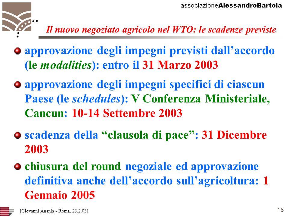 associazione AlessandroBartola 16 [Giovanni Anania - Roma, 25.2.03] approvazione degli impegni previsti dallaccordo (le modalities): entro il 31 Marzo 2003 Il nuovo negoziato agricolo nel WTO: le scadenze previste approvazione degli impegni specifici di ciascun Paese (le schedules): V Conferenza Ministeriale, Cancun: 10-14 Settembre 2003 chiusura del round negoziale ed approvazione definitiva anche dellaccordo sullagricoltura: 1 Gennaio 2005 scadenza della clausola di pace: 31 Dicembre 2003