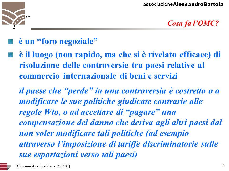 associazione AlessandroBartola 4 [Giovanni Anania - Roma, 25.2.03] Cosa fa lOMC.