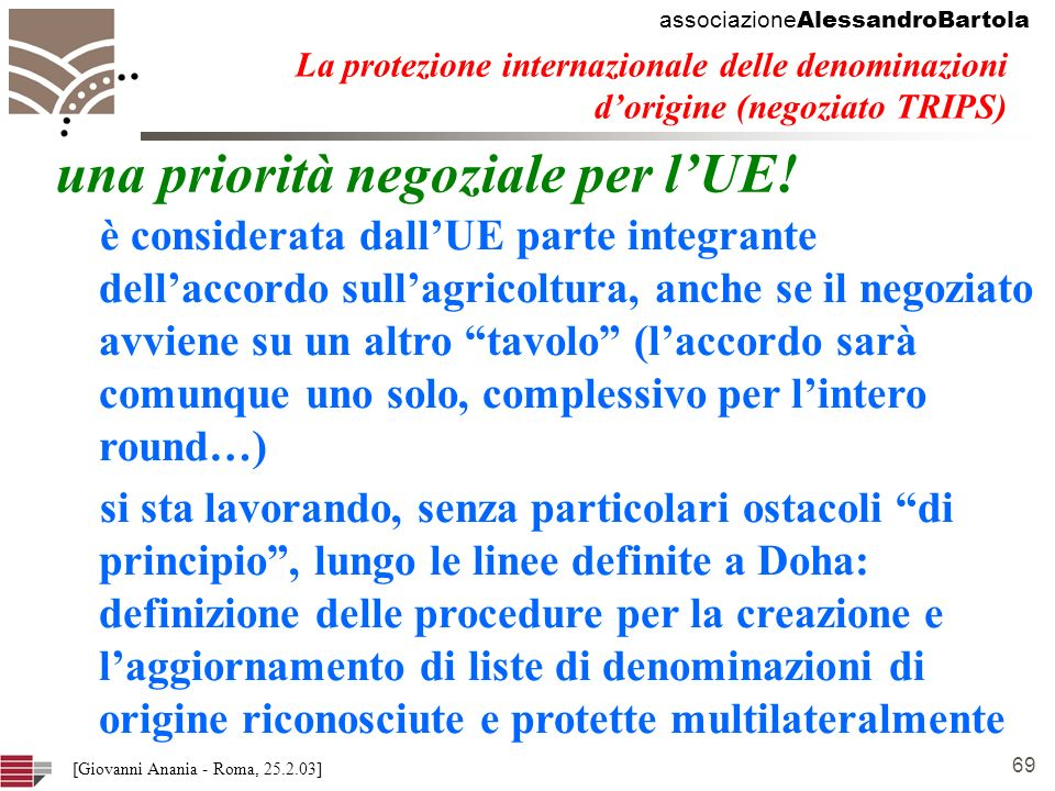 associazione AlessandroBartola 69 [Giovanni Anania - Roma, 25.2.03] La protezione internazionale delle denominazioni dorigine (negoziato TRIPS) una priorità negoziale per lUE.