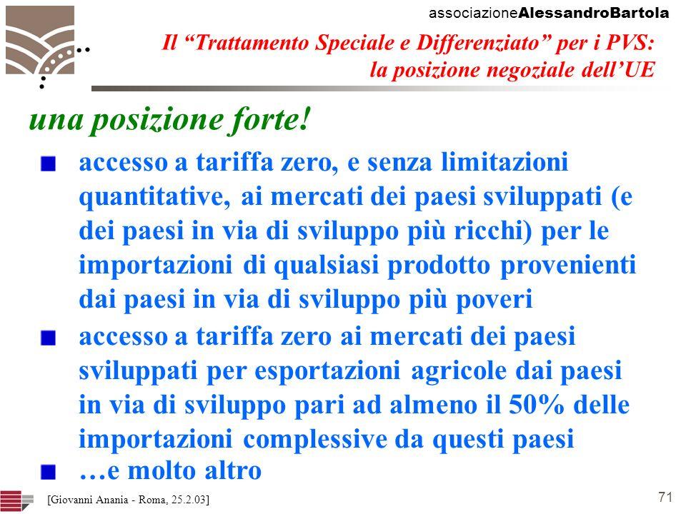associazione AlessandroBartola 71 [Giovanni Anania - Roma, 25.2.03] Il Trattamento Speciale e Differenziato per i PVS: la posizione negoziale dellUE una posizione forte.