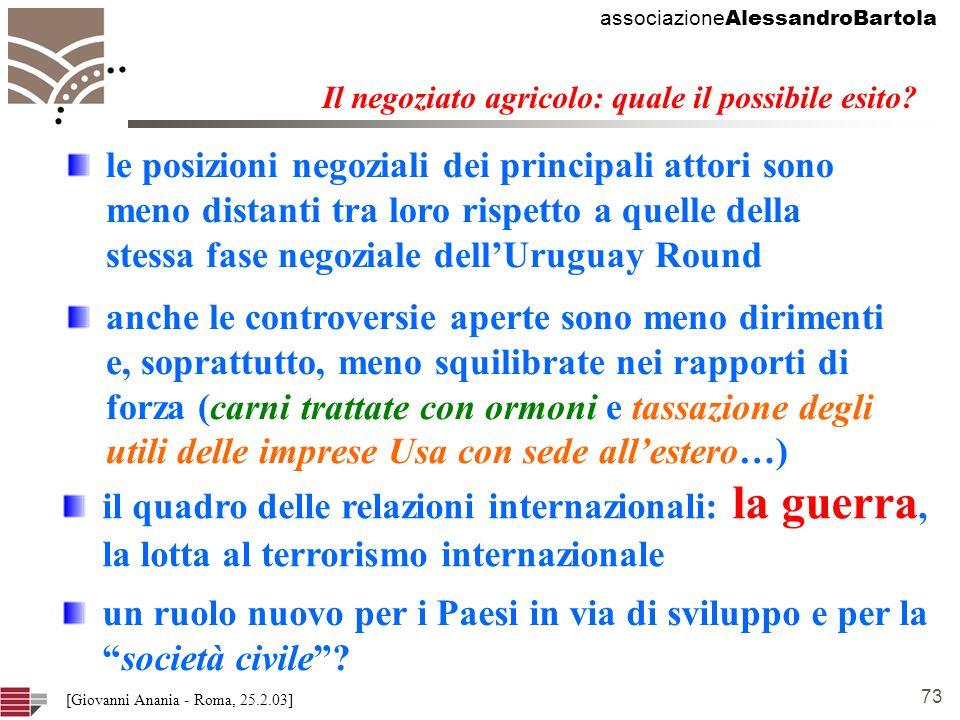 associazione AlessandroBartola 73 [Giovanni Anania - Roma, 25.2.03] Il negoziato agricolo: quale il possibile esito.