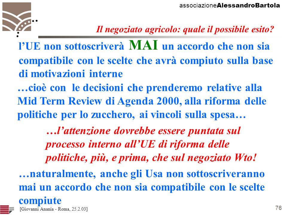 associazione AlessandroBartola 76 [Giovanni Anania - Roma, 25.2.03] Il negoziato agricolo: quale il possibile esito.