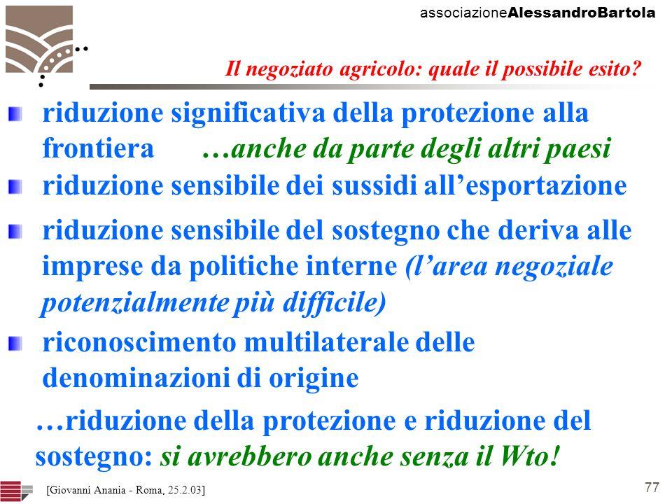 associazione AlessandroBartola 77 [Giovanni Anania - Roma, 25.2.03] Il negoziato agricolo: quale il possibile esito.