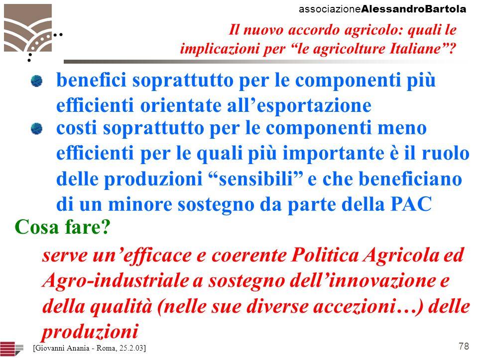 associazione AlessandroBartola 78 [Giovanni Anania - Roma, 25.2.03] Il nuovo accordo agricolo: quali le implicazioni per le agricolture Italiane.