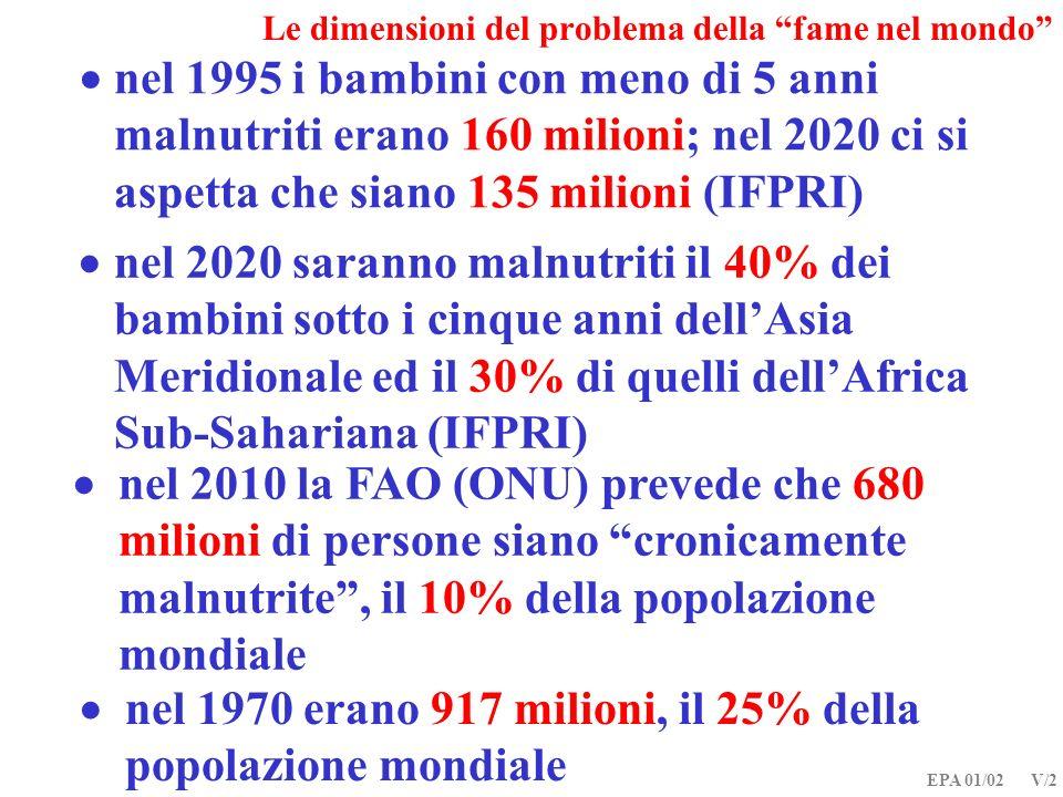 EPA 01/02 V/2 Le dimensioni del problema della fame nel mondo nel 2010 la FAO (ONU) prevede che 680 milioni di persone siano cronicamente malnutrite,