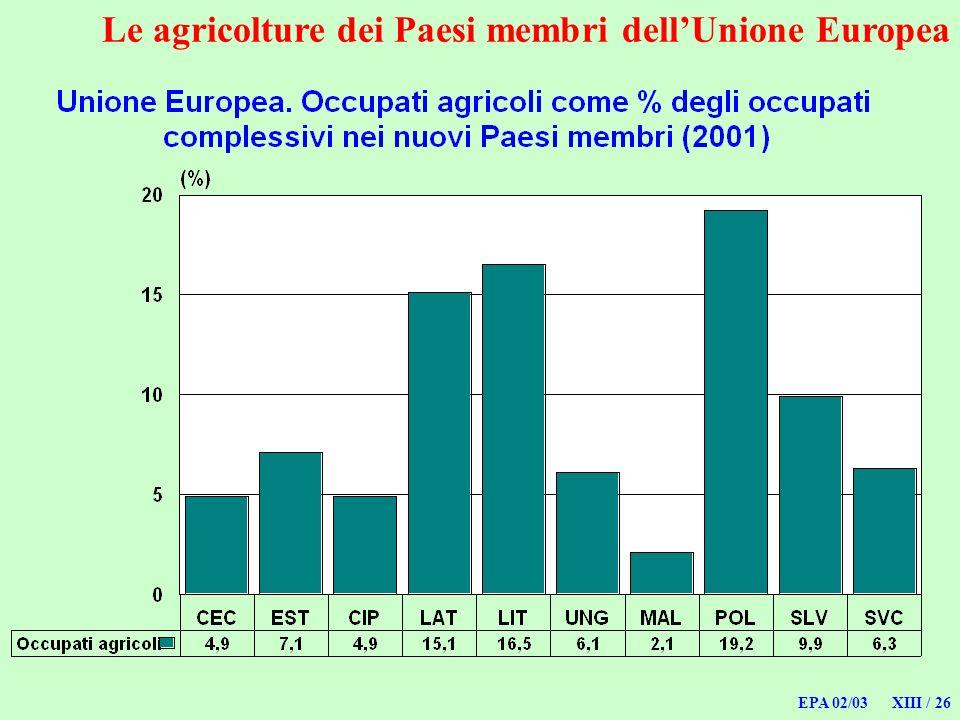 EPA 02/03 XIII / 26 Le agricolture dei Paesi membri dellUnione Europea