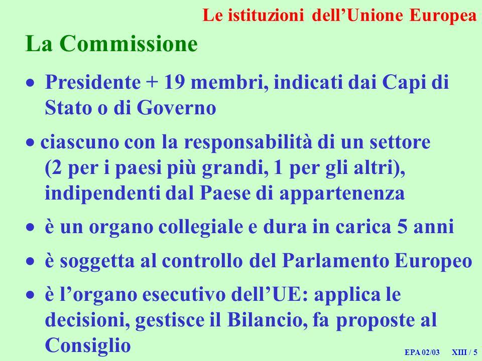 EPA 02/03 XIII / 5 La Commissione Presidente + 19 membri, indicati dai Capi di Stato o di Governo ciascuno con la responsabilità di un settore (2 per
