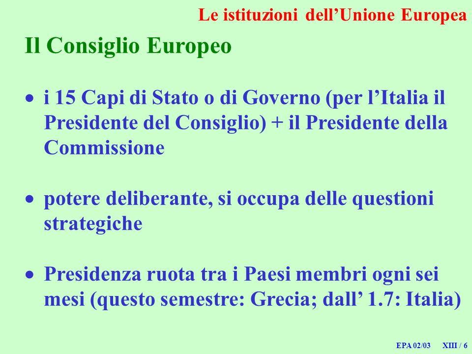 EPA 02/03 XIII / 6 Le istituzioni dellUnione Europea Il Consiglio Europeo i 15 Capi di Stato o di Governo (per lItalia il Presidente del Consiglio) +