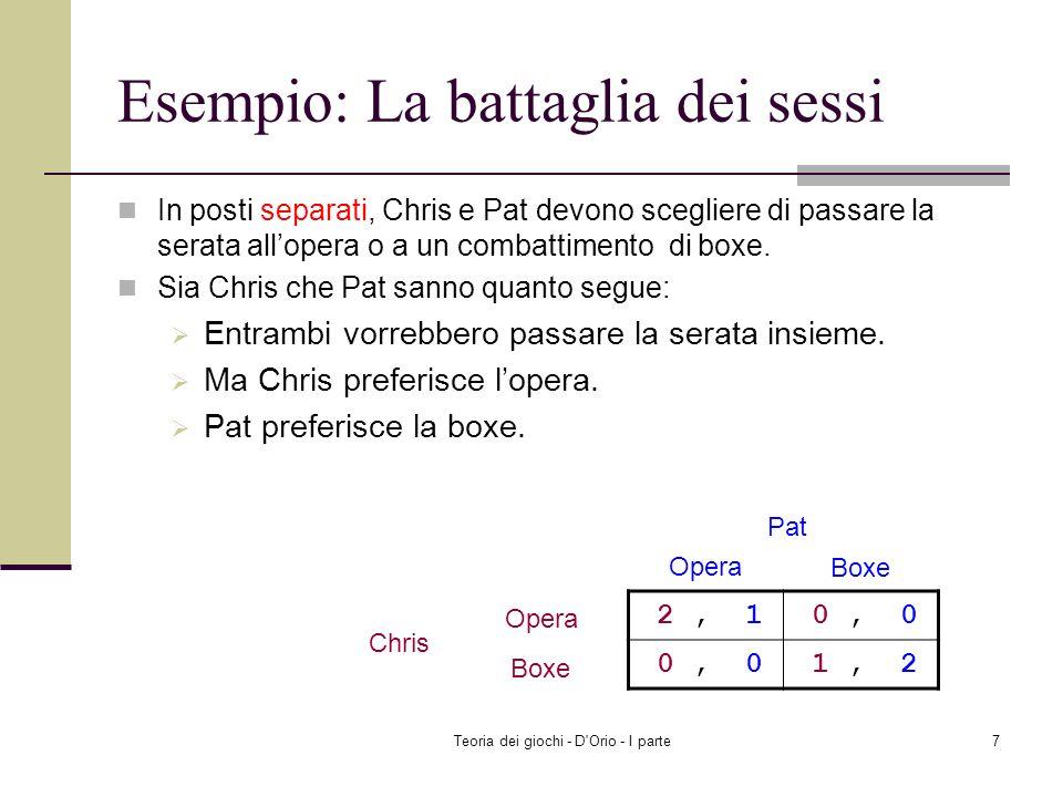Teoria dei giochi - D Orio - I parte47 Gioco a 2 giocatori con strategie finite S 1 ={s 11, s 12, s 13 } S 2 ={s 21, s 22 } La strategia di Player 1 s 11 è la migliore risposta alla strategia di Player 2 s 21 se u 1 (s 11,s 21 ) u 1 (s 12,s 21 ) e u 1 (s 11,s 21 ) u 1 (s 13,s 21 ).