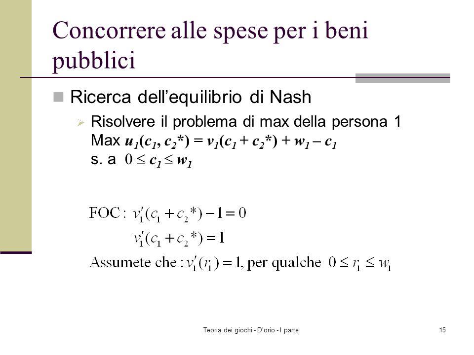 Teoria dei giochi - D'orio - I parte14 Concorrere alle spese per i beni pubblici Ricerca dellequilibrio di Nash Trovare la coppia di contributi ( c 1