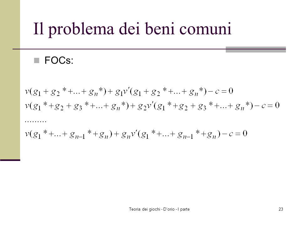 Teoria dei giochi - D'orio - I parte22 Il problema dei beni comuni Ricerca dellequilibrio di Nash Trovare ( g 1 *, g 2 *,..., g n * ) tale che g i * s