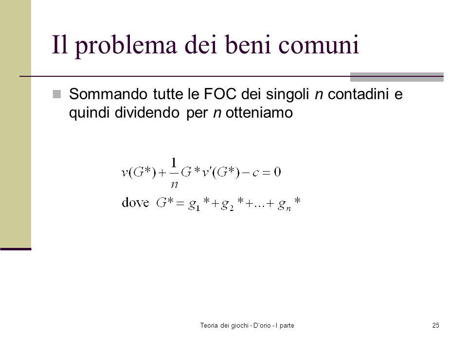Teoria dei giochi - D'orio - I parte24 Il problema dei beni comuni Ricerca dellequilibrio di Nash ( g 1 *, g 2 *,..., g n * ) è un equilibrio di Nash