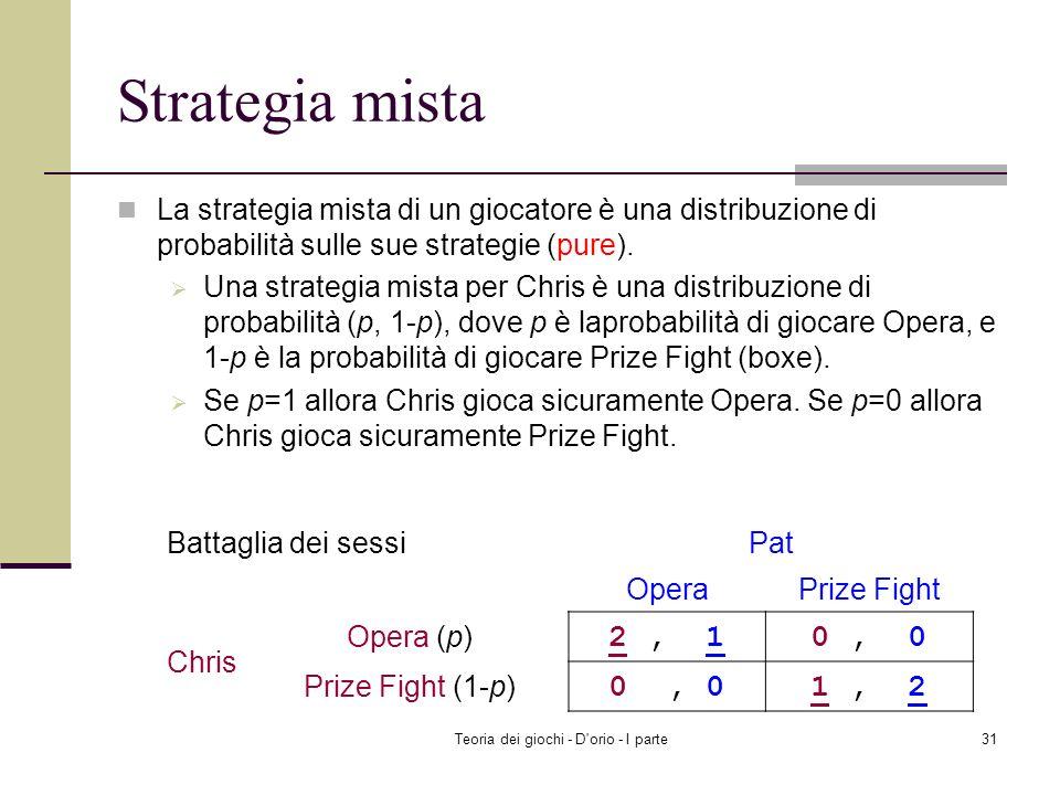 Teoria dei giochi - D'orio - I parte30 Risolvere Matching pennies Rendete casuale la vostra strategia per sorprendere il rivale Player 1 sceglie Head