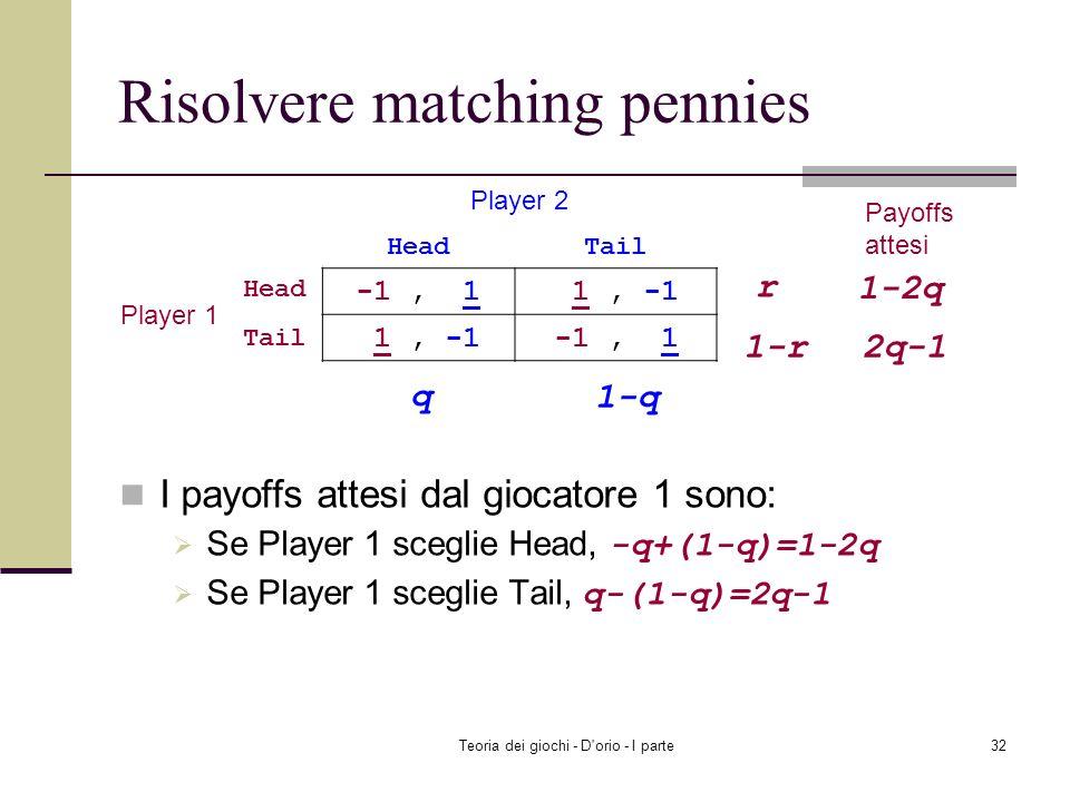 Teoria dei giochi - D'orio - I parte31 Strategia mista La strategia mista di un giocatore è una distribuzione di probabilità sulle sue strategie (pure