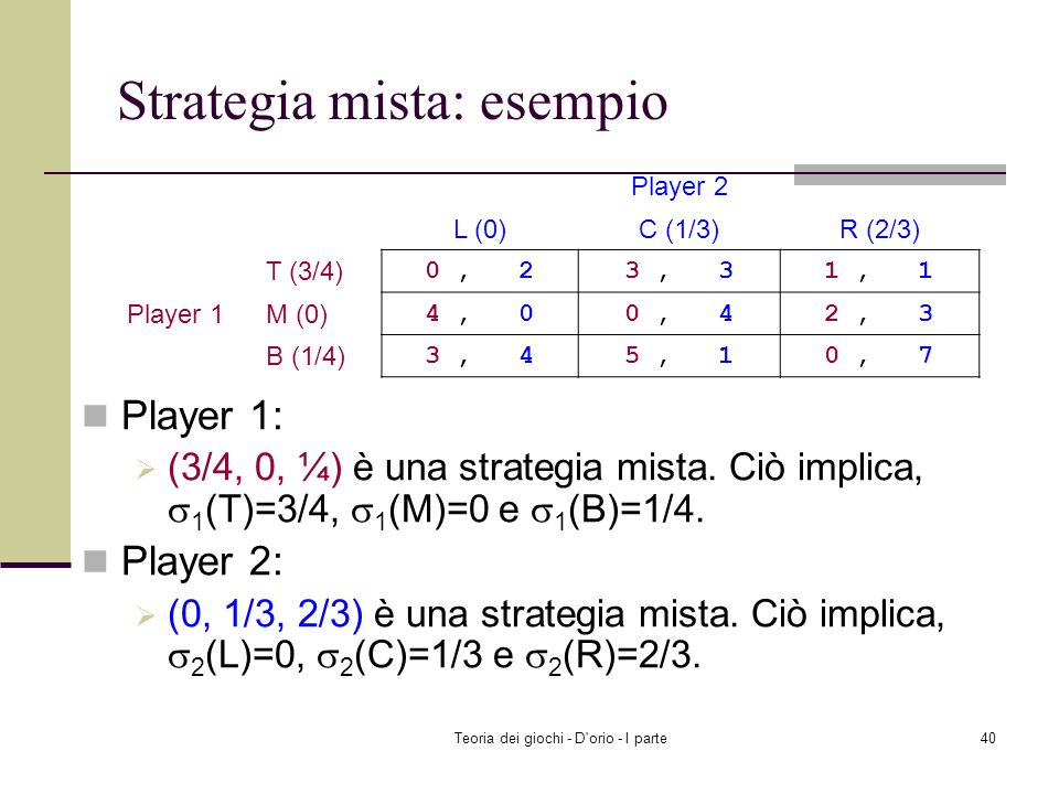 Teoria dei giochi - D'orio - I parte39 Strategia mista: esempio Matching pennies Player 1 ha due strategie pure: H e T ( 1 (H)=0.5, 1 (T)=0.5 ) è una