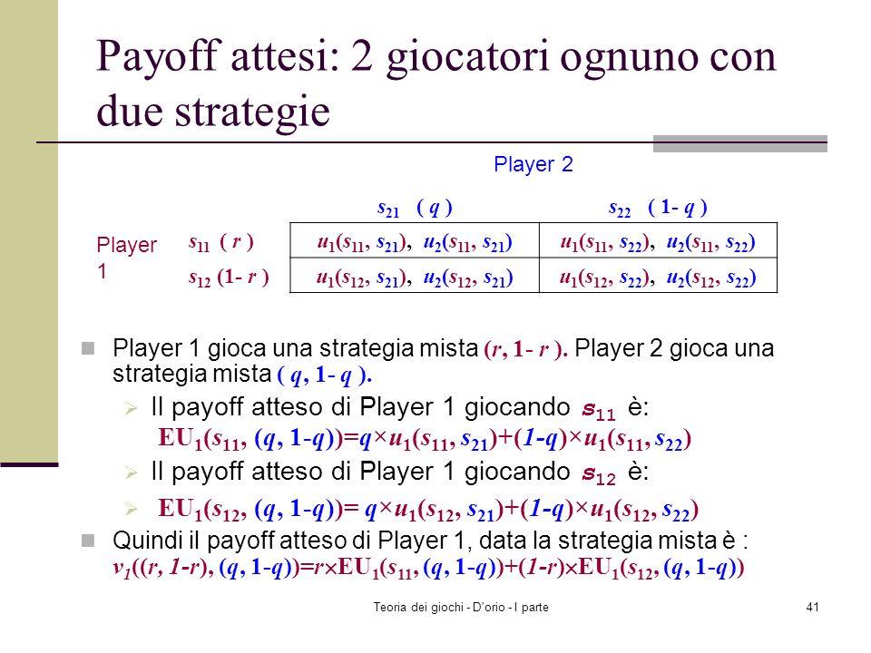 Teoria dei giochi - D'orio - I parte40 Strategia mista: esempio Player 1: (3/4, 0, ¼) è una strategia mista. Ciò implica, 1 (T)=3/4, 1 (M)=0 e 1 (B)=1