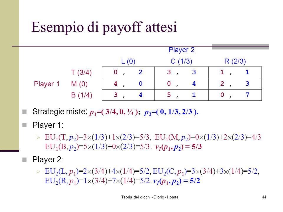 Teoria dei giochi - D'orio - I parte43 Esempio di payoff attesi Player 1: EU 1 (H, (0.3, 0.7)) = 0.3×(-1) + 0.7×1=0.4 EU 1 (T, (0.3, 0.7)) = 0.3×1 + 0