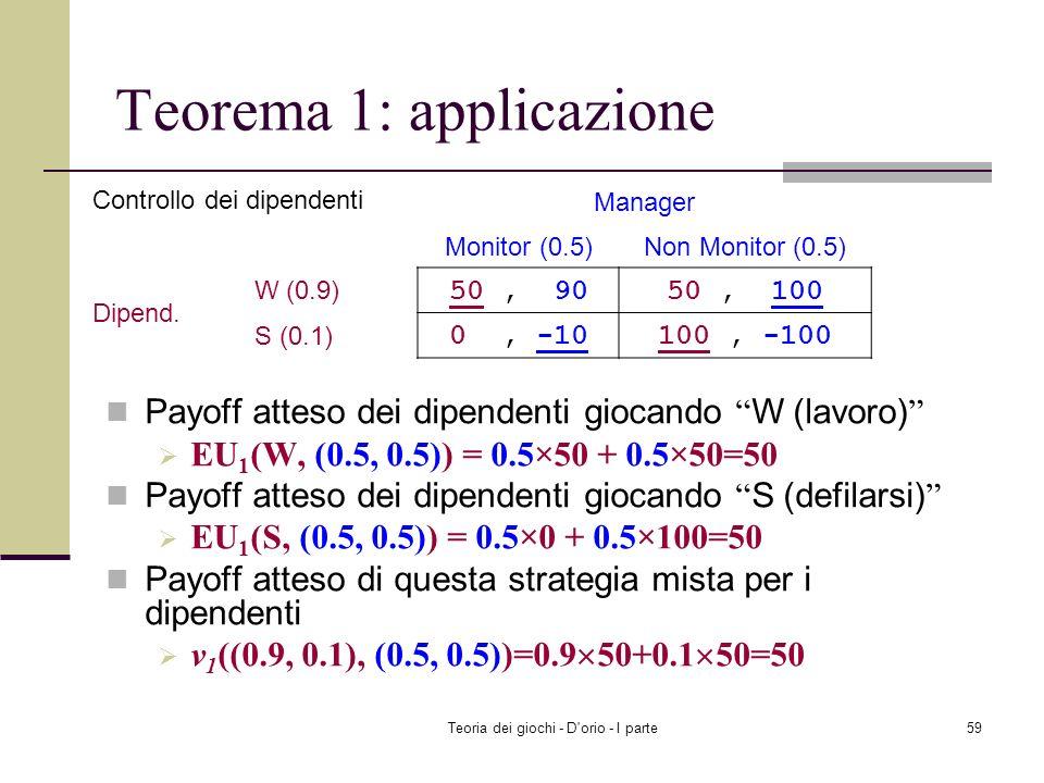 Teoria dei giochi - D'orio - I parte58 Teorema 1: applicazione Player 1: v 1 ((0.5, 0.5), (0.5, 0.5)) EU 1 (H, (0.5, 0.5)) v 1 ((0.5, 0.5), (0.5, 0.5)