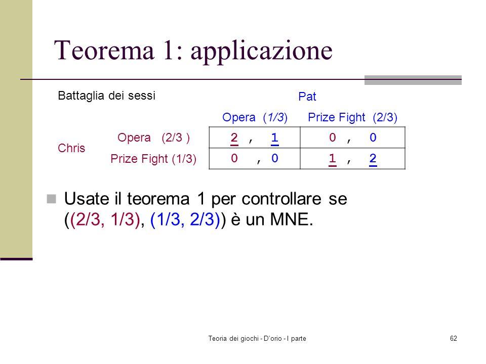 Teoria dei giochi - D'orio - I parte61 Dipendenti v 1 ((0.9, 0.1), (0.5, 0.5)) EU 1 (W, (0.5, 0.5)) v 1 ((0.9, 0.1), (0.5, 0.5)) EU 1 (S, (0.5, 0.5))