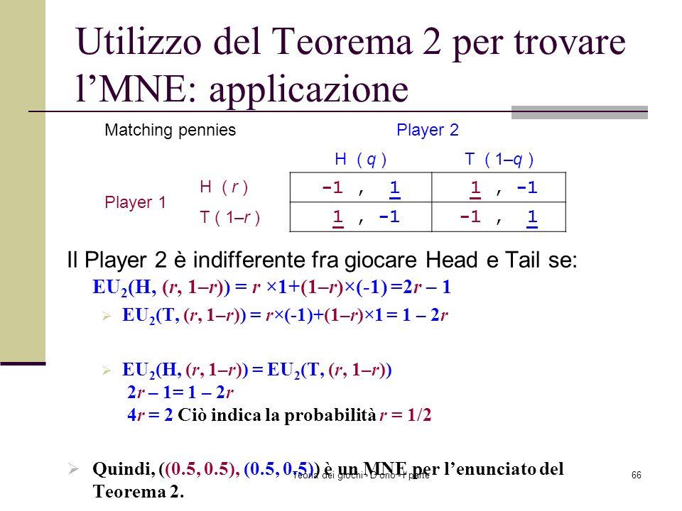 Teoria dei giochi - D'orio - I parte65 Utilizzo del Teorema 2 per trovare lMNE: applicazione Il Player 1 è indifferente fra giocare Head e Tail se: EU