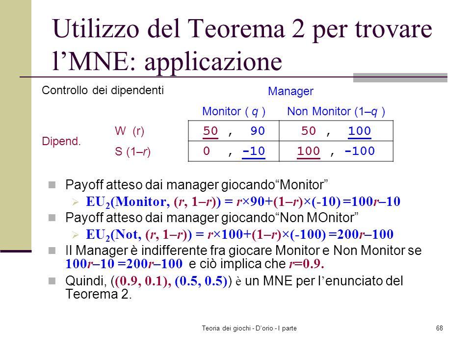 Teoria dei giochi - D'orio - I parte67 Payoff atteso dai dipendenti giocando W (lavoro) EU 1 (Work, (q, 1 – q)) = q×50 + (1 – q)×50=50 Payoff atteso d