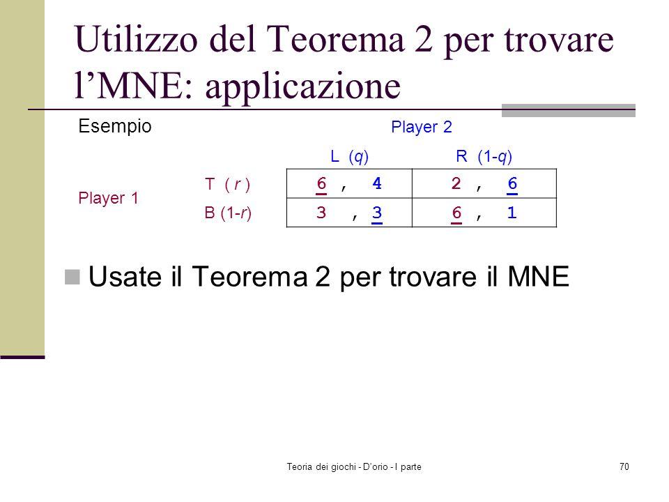 Teoria dei giochi - D'orio - I parte69 Usate il Teorema 2 per trovare il MNE Utilizzo del Teorema 2 per trovare lMNE: applicazione Battaglia dei sessi