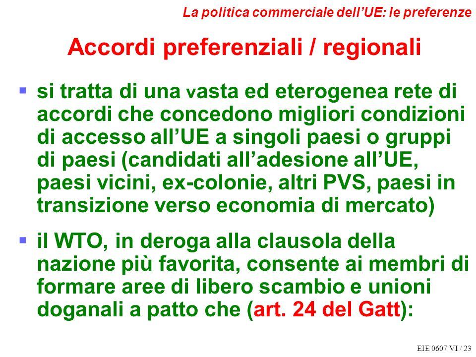 EIE 0607 VI / 23 La politica commerciale dellUE: le preferenze Accordi preferenziali / regionali si tratta di una v asta ed eterogenea rete di accordi