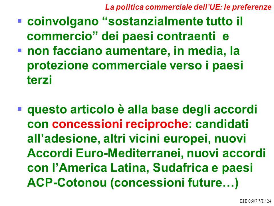 EIE 0607 VI / 24 La politica commerciale dellUE: le preferenze coinvolgano sostanzialmente tutto il commercio dei paesi contraenti e non facciano aume