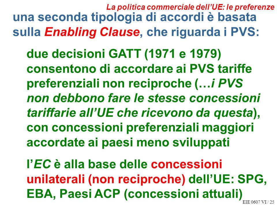 EIE 0607 VI / 25 La politica commerciale dellUE: le preferenze una seconda tipologia di accordi è basata sulla Enabling Clause, che riguarda i PVS: du