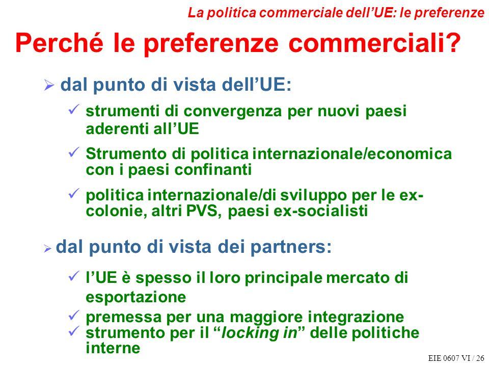 EIE 0607 VI / 26 La politica commerciale dellUE: le preferenze dal punto di vista dellUE: strumenti di convergenza per nuovi paesi aderenti allUE Stru