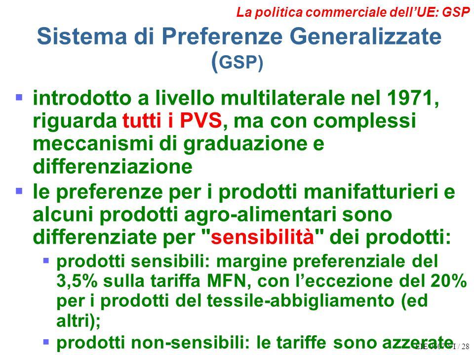 EIE 0607 VI / 28 La politica commerciale dellUE: GSP Sistema di Preferenze Generalizzate ( GSP) introdotto a livello multilaterale nel 1971, riguarda