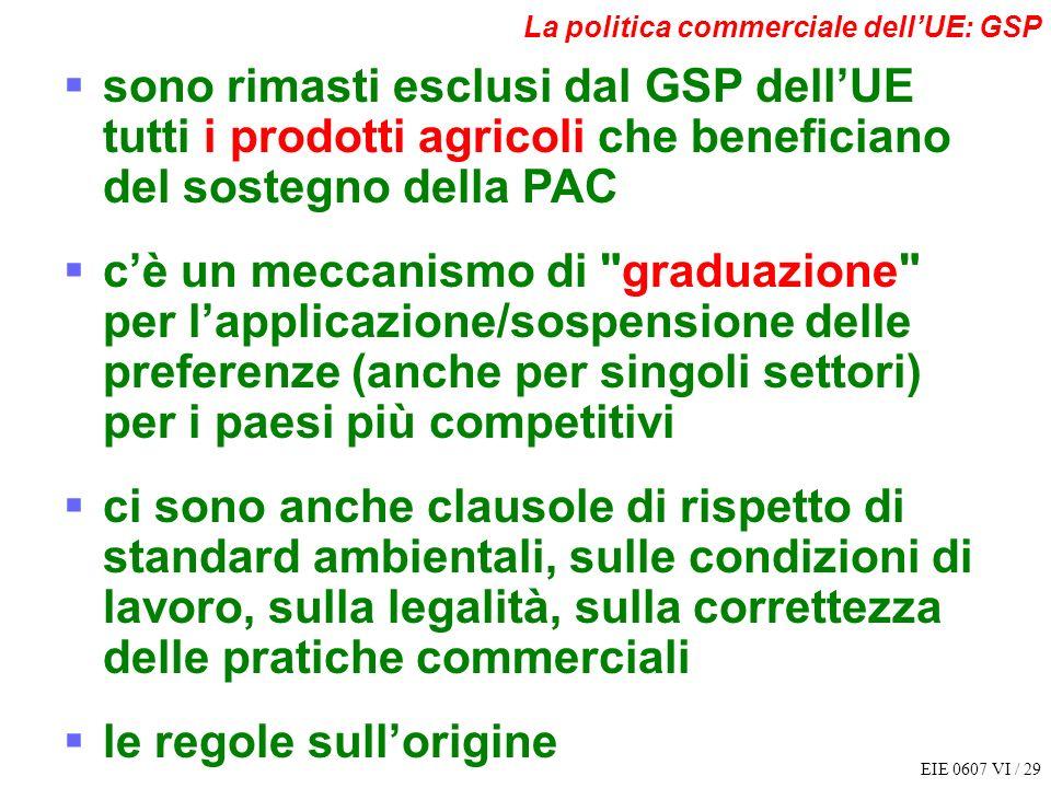 EIE 0607 VI / 29 La politica commerciale dellUE: GSP sono rimasti esclusi dal GSP dellUE tutti i prodotti agricoli che beneficiano del sostegno della