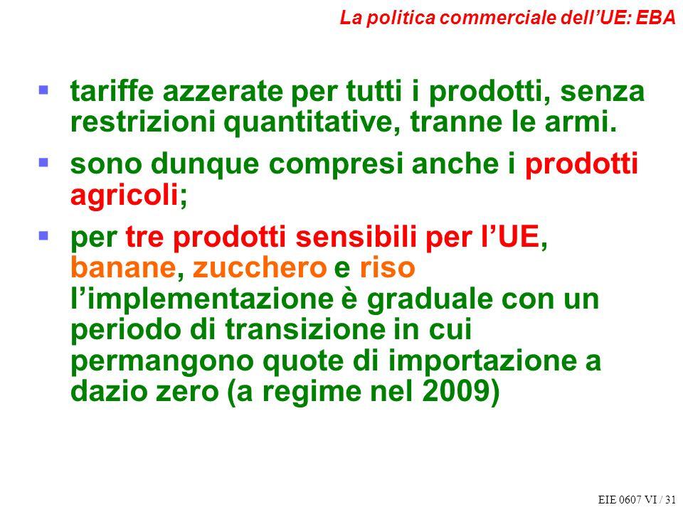EIE 0607 VI / 31 La politica commerciale dellUE: EBA tariffe azzerate per tutti i prodotti, senza restrizioni quantitative, tranne le armi. sono dunqu