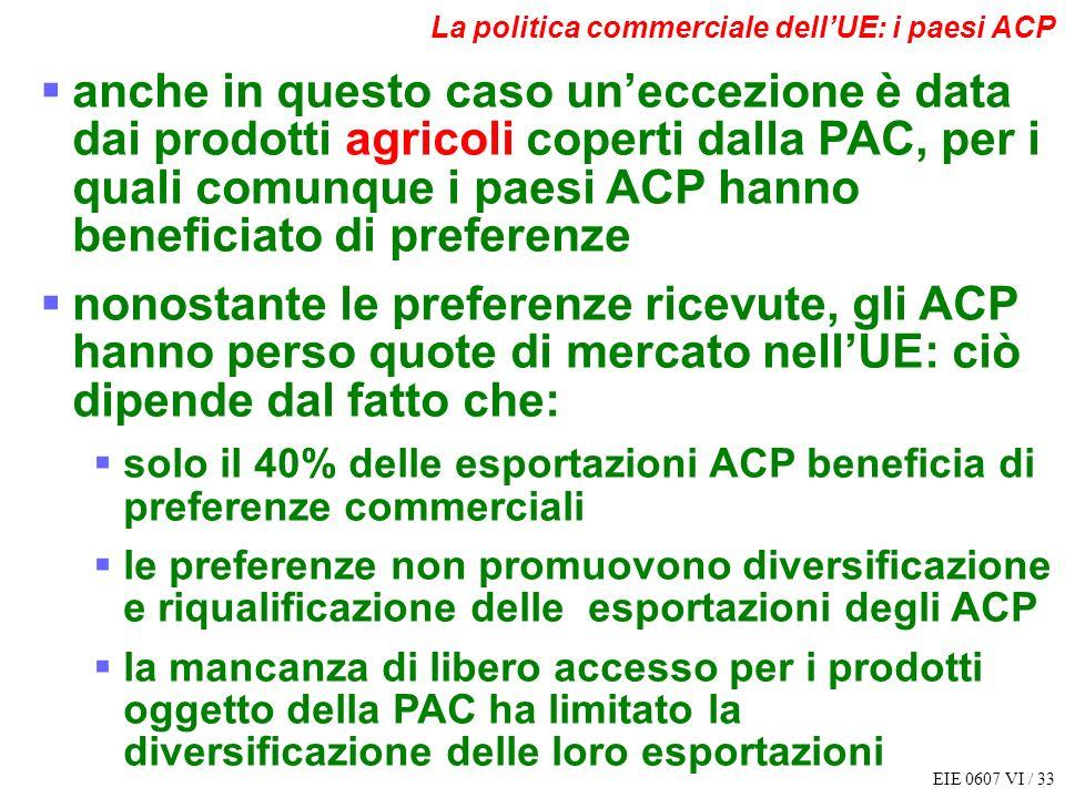 EIE 0607 VI / 33 La politica commerciale dellUE: i paesi ACP anche in questo caso uneccezione è data dai prodotti agricoli coperti dalla PAC, per i qu